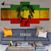 Decorative Painting 5 Piece HD Printed bob marley Jamaica Painting Canvas Print Room Decor Poster Picture Canvas Art