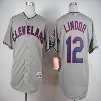 Cleveland Indians #12 Francisco Lindor Grey Flexbase Collection Cool Base Stitched Gray Jerseys MLB Baseball Jersey