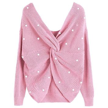 Pearl Embellished Twisted Knot Sweater