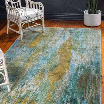 9960 Turquoise Contemporary Area Rugs
