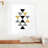 Triangles Gold Black Abstract Geometric Canvas Picture Prints Posters Art Aztec Wall Art  Baby Kids Nursery Home Decor No Frame