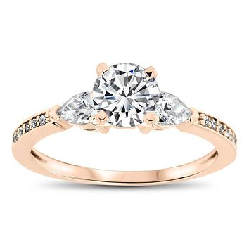 Dainty Diamond Engagement Ring Forever One Moissanite Center -Pia