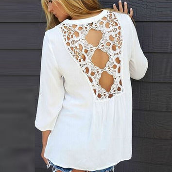 Lace stitching round neck chiffon shirt