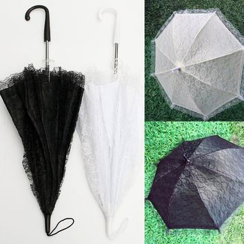 Fashion Flower Kids Girl Parasol Lace Umbrella Sun Umbrella Bridal Wedding Accessories Party Supplies Children Favors Gift