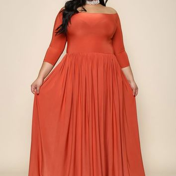 Coral sophisticated off shoulder Plus Size Maxi Dress