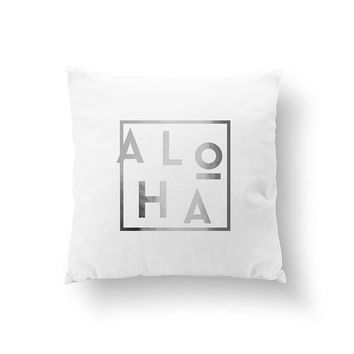 Aloha Pillow, Beach Home Decor, Gold Pillow, Cushion Cover, Bed Pillow, Nautical Decor, Throw Pillow, Hawaiian Bed Decor, Decorative Pillow