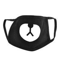 Unisex Black Cute Bear Cotton Mouth Face Mask Respirator for Cycling Anti-Dust