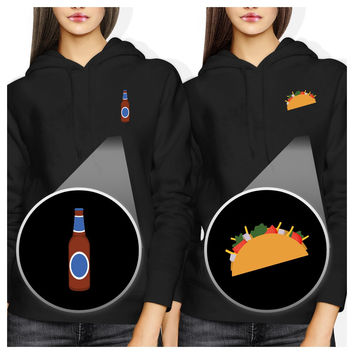 Beer And Taco Pocket BFF Hoodies Best Friends Hooded Sweatshirts