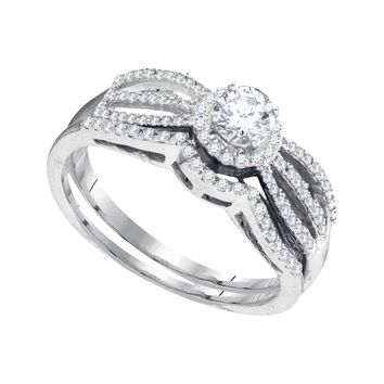 10kt White Gold Womens Round Diamond Split-shank Bridal Wedding Engagement Ring Band Set 3/8 Cttw
