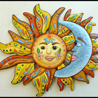 Sun - Moon Wall Decor - Painted Metal Wall Hanging - Haitian Steel Drum - 28""