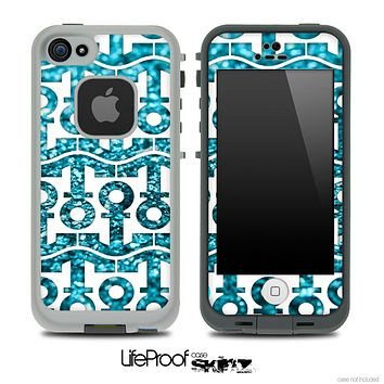 White and Trendy Turquoise Glimmer Anchor Collage Skin for the iPhone 5 or 4/4s LifeProof Case