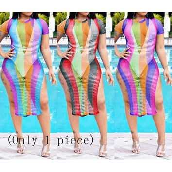 Best selling women's personality grid print striped short sleeves on both sides of the split 3 color dress (Only 1 piece)