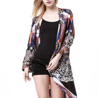 Floral Print Long Sleeve Loose Long Cardigan