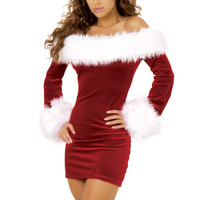 Wine Red Off Shoulder Santa Velvet Mini Dress
