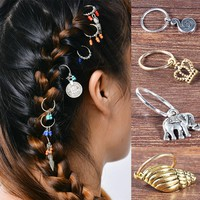 LNRRABC Women Silver Gold Hairpin Pigtail Short Braid Dreadlocks Leaves Dreadlock Circle Hoop Hair Accessories