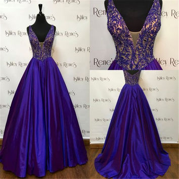 Real Photo Purple Lace Beaded Long Prom Dresses Sexy V-Neck Backless Sleeveless A-Line Evening Gowns Fashion Satin Prom Dress