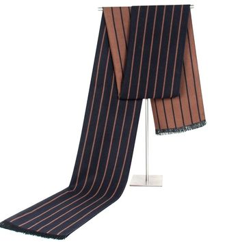 Men's Business Warm Scarf Cashmere-like Striped Neck Scarf Luxury Scarves for Men