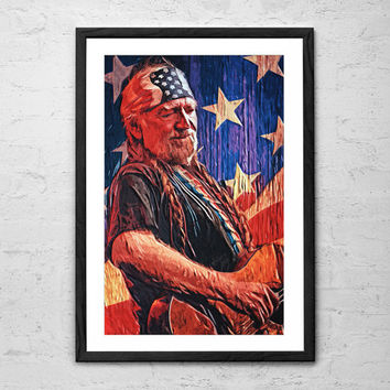 Willie Nelson, Illustration - Wall art Poster - Fine Art Print for Interior Decoration