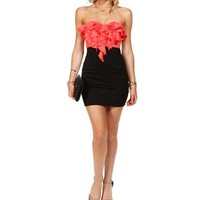 Coral/Black Strapless Ruffle Dress