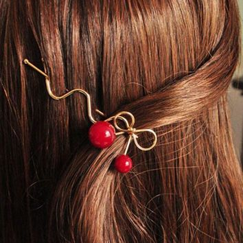 3pcs Sweet Women Girls Korean Style Red Cherry Shaped Bow Hairpin Twist Hair Clip Headdress