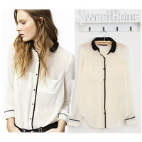 Chiffon Contrast Convertible Collar Long Sleeve Blouse