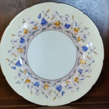 Vintage Coalport Scalloped Gold Rimmed Harebell-Pale Yellow - Pattern 9568 Blue and Yellow Bells Floral Plate
