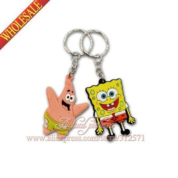 VONG2W 100Pcs/lot  Sponge Bob Key Chains Accessories  Action figure Keyrings Keychains Kids Toy Key Holder Travel  accessories