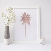 Rose Gold Palm Tree Beach Wall Art Print