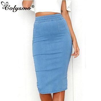 3f2a3199b Colysmo Women Denim Skirts Plus Size High Waist Midi Skirt Summe