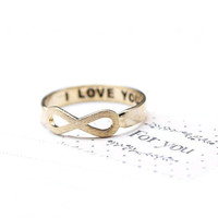 I LOVE YOU Infinity Ring in gold