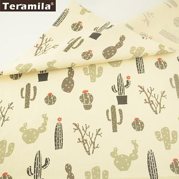 Teramila Cotton Fabric Printed Different Cactus Series Pattern High Quality Twill Material Quiting Patchwork Sewing Clothing CM
