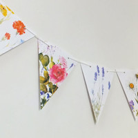 Flower Bunting, Floral Garland, Paper Banner, botanical  bunting, wedding decor, Wedding Pennants
