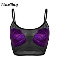 TiaoBug Fashion Women Sexy Black Crop Top Rave Festival Strap See Through Mesh Top Bra Shiny Shell Mermaid Party Cami Tank Top