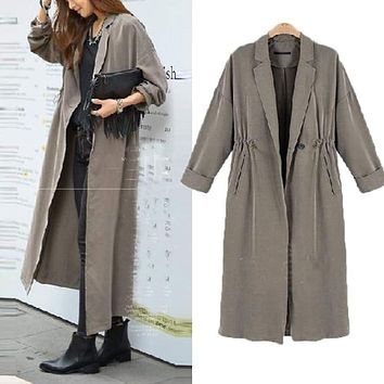 Women Oversized Ladies Vintage Casual Retro Open Front Cardigan Drawstring Long Coat Outwear Autumn Winter Macchar Cosplay Catalogue
