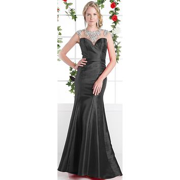 Cinderella Divine CJ221 Black Cut Out Back Beaded Collar Satin Sheath Prom Gown