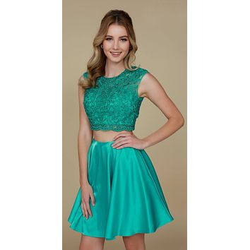 Green Two-Piece Homecoming Dress Open Lace Up Back
