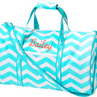 Aqua Chevron Zig Zag Large Duffel Dufle Bag Gym Bag Sports Bag Travel Bag Bridesmaid Wedding Pary Christmas Gift Birthday School Bride Bag