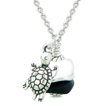 Sea Glass Icy Frosted Waves Lucky Turtle Black White Positive Energy Amulet 22 Inch Necklace