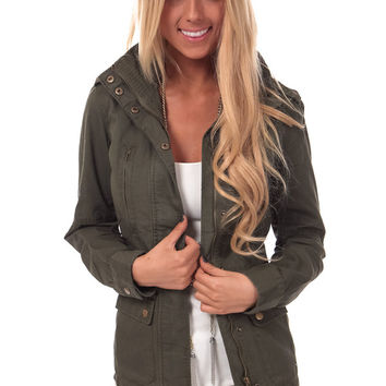 Olive Cargo Jacket with Drawstring Tie