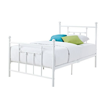 Queen White Metal Platform Bed Frame with Headboard & Footboard