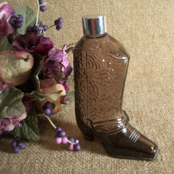Avon Collectible Brown Glass Cowboy Boot  Decanter Western Footware Bottle After Shave Cologne Bottle Dresser Top  Man Cave Home Decor Gift