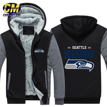 NFL American football winter thicken plus velvet zipper coat hooded sweatshirt casual jacket Seattle Seahawks