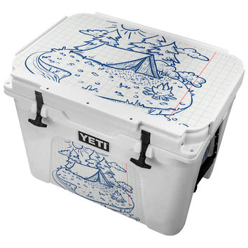 Wilderness Tent by a River Sketch Skin for the Yeti Tundra Cooler