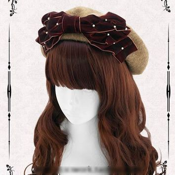 Princess sweet lolita hat 100% wool manual velvet bonnet elegant pearl bow joker baked wheat cake cap beret painter cap custom