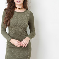 Suede Baroque Studded Bodycon Dress