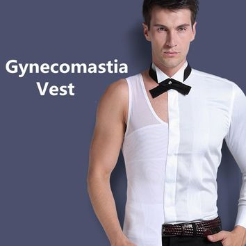 Mens Gynecomastia Vest Chest Binder Posture Corset Male Abdomen Trainer Belly Reduce Fat Slim Fit Body Shaper Back Cross Tops