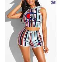 Champion Fashion Women Casual Print Sleeveless Top Shorts Set Two-Piece