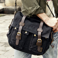 black vintage military bag with leather accents $71.99