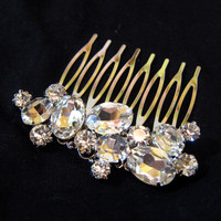 BRIDAL - Wedding Hair Comb, Bridal Accessories, White, Rhinestones, Crystal, Swarovski, Czech crystal, Head Piece - Style 10