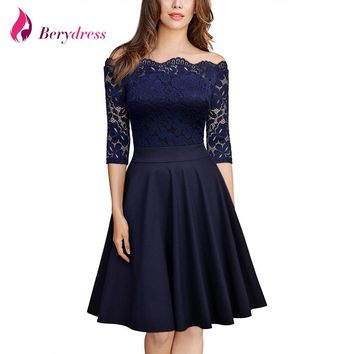 Berydress Elegant Women Sexy Boat Neck 3/4 Sleeve Patchwork Knee-Length Casual A-Line Short Vintage Lace Dress Hot Selling